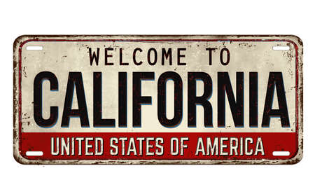 Welcome to California vintage rusty metal plate on a white background, vector illustration