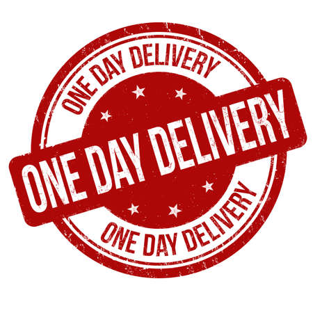 One day delivery grunge rubber stamp on white background, vector illustration