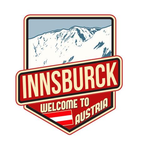 Innsburck travel sticker on white background, vector illustration