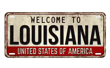Welcome to Louisiana vintage rusty metal plate on a white background, vector illustration