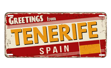 Greetings from Tenerife vintage rusty metal plate on a white background, vector illustration
