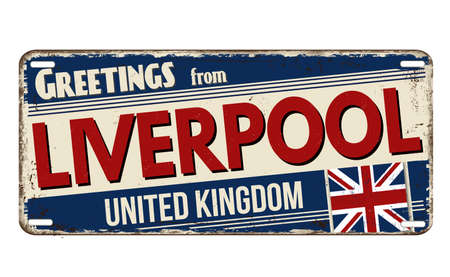 Greetings from Liverpool vintage rusty metal plate on a white background, vector illustration Vector Illustration