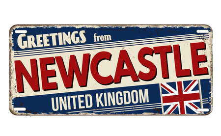Greetings from Newcastle vintage rusty metal plate on a white background, vector illustration