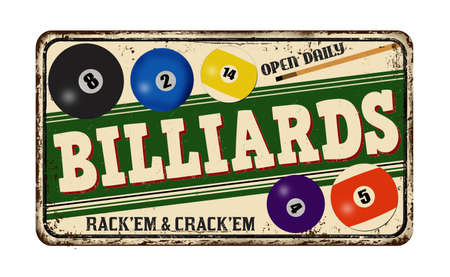 Billiards vintage rusty metal sign on a white background, vector illustration