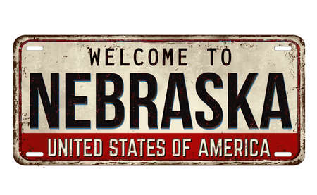 Welcome to Nebraska vintage rusty metal plate on a white background, vector illustration