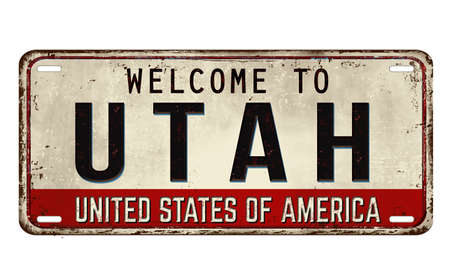 Welcome to Utah vintage rusty metal plate on a white background, vector illustration