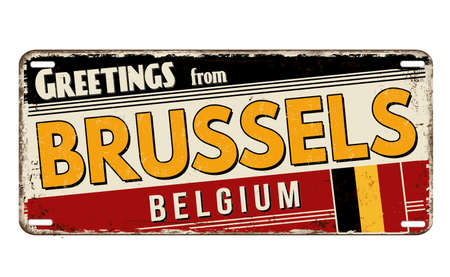 Greetings from Brussels vintage rusty metal plate on a white background, vector illustration Vektorgrafik