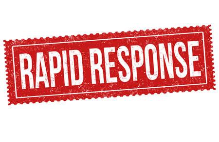 Rapid response grunge rubber stamp on white background, vector illustration