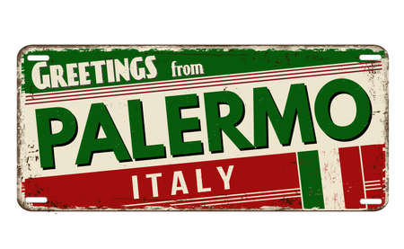 Greetings from Palermo vintage rusty metal plate on a white background, vector illustration