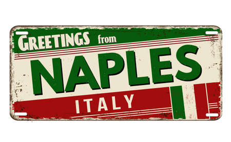 Greetings from Naples vintage rusty metal plate on a white background, vector illustration 向量圖像