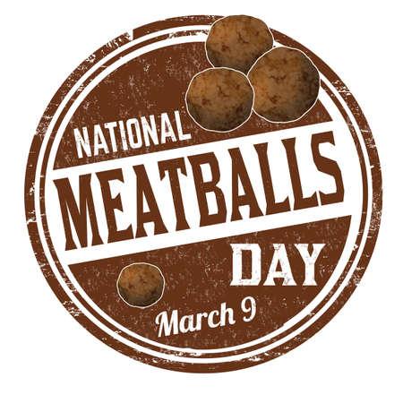 National meatballs day grunge rubber stamp on white background, vector illustration