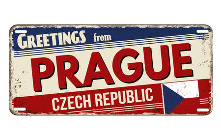 Greetings from Prague vintage rusty metal plate on a white background, vector illustration