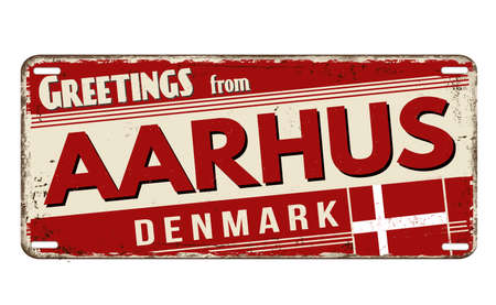 Greetings from Aarhus vintage rusty metal plate on a white background, vector illustration Illustration