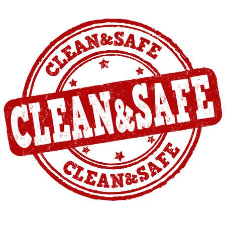 Clean and safe grunge rubber stamp on white background, vector illustration Illustration