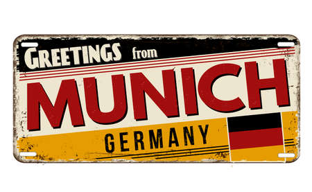 Greetings from Munich vintage rusty metal plate on a white background, vector illustration Illustration