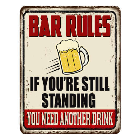 Bar rules vintage rusty metal sign on a white background, vector illustration