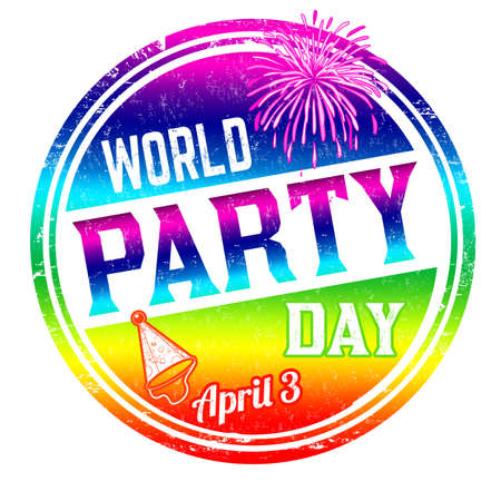 World party day grunge rubber stamp on white background, vector illustration