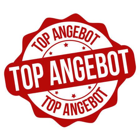 Great offer on german language ( Top angebot ) sign or stamp on white background, vector illustration Illustration