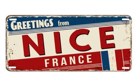 Greetings from Nice vintage rusty metal plate on a white background, vector illustration
