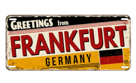 Greetings from Frankfurt vintage rusty metal plate on a white background, vector illustration