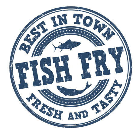 Fish fry grunge rubber stamp on white background, vector illustration