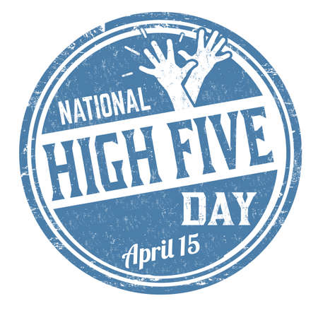 National high five day grunge rubber stamp on white background, vector illustration