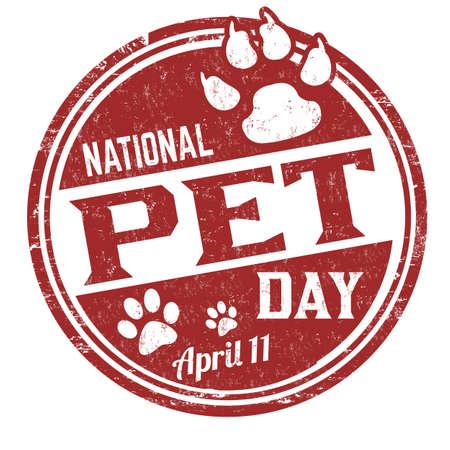 National pet day grunge rubber stamp on white background, vector illustration