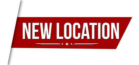 New location banner design on white background, vector illustration