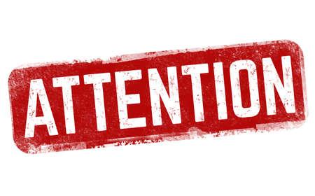 Attention grunge rubber stamp on white background, vector illustration