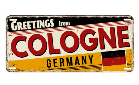 Greetings from Cologne vintage rusty metal plate on a white background, vector illustration Illustration