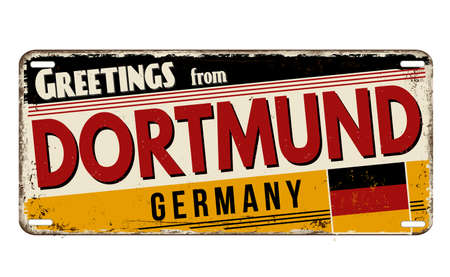 Greetings from Dortmund vintage rusty metal plate on a white background, vector illustration Illustration