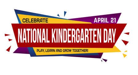 National kindergarten day banner design on white background, vector illustration