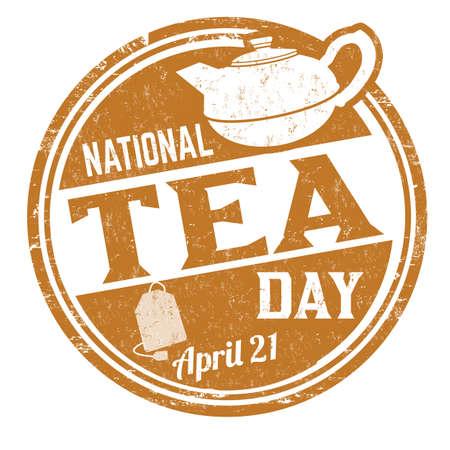 National tea day grunge rubber stamp on white background, vector illustration