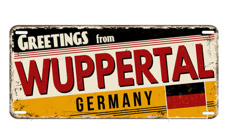 Greetings from Wuppertal vintage rusty metal plate on a white background, vector illustration