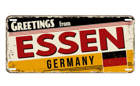 Greetings from Essen vintage rusty metal plate on a white background, vector illustration