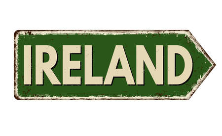 Ireland vintage rusty metal sign on a white background, vector illustration Illustration
