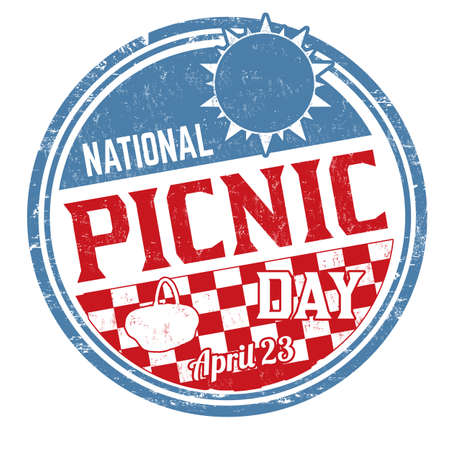National picnic day sign or stamp on white background, vector illustration Illustration