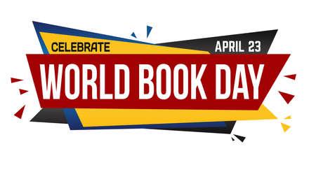 World book day banner design on white background, vector illustration Illustration