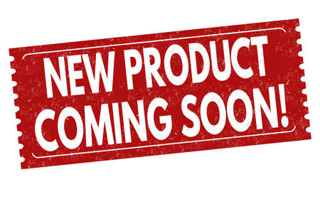 New product coming soon sign or stamp on white background, vector illustration