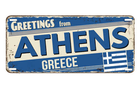 Greetings from Athens vintage rusty metal plate on a white background, vector illustration