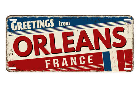 Greetings from Orleans vintage rusty metal plate on a white background, vector illustration Illustration