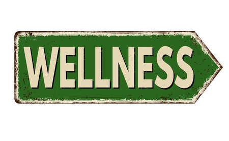 Wellness vintage rusty metal sign on a white background, vector illustration