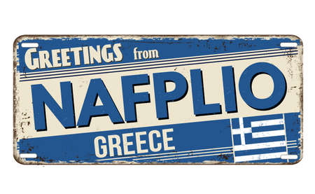 Greetings from Nafplio vintage rusty metal plate on a white background, vector illustration
