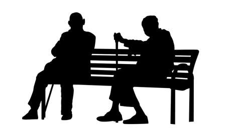 Two elderly people silhouettes sitting on a park bench on white background, vector illustration Illustration