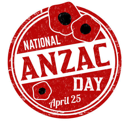 National anzac day grunge rubber stamp on white background, vector illustration