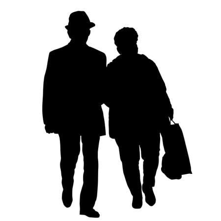 Senior couple silhouette on a white background, vector illustration Illustration