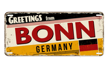 Greetings from Bonn vintage rusty metal plate on a white background, vector illustration