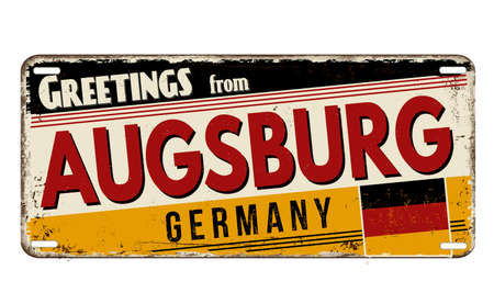 Greetings from Augsburg vintage rusty metal plate on a white background, vector illustration
