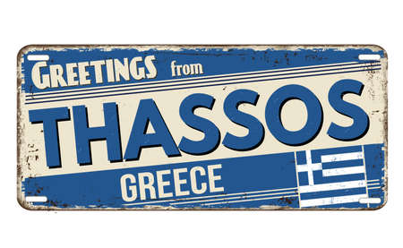Greetings from Thassos vintage rusty metal plate on a white background, vector illustration