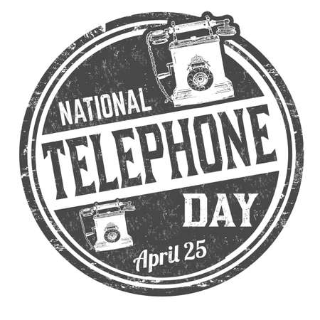 National telephone day grunge rubber stamp on white background, vector illustration Illustration